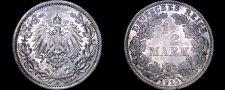 Buy 1915 A German Empire Half (1/2) Mark World Silver Coin - Germany