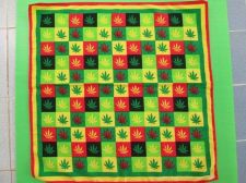 Buy Rastafari Banner Rasta Flag Raggae Green Leaves Checkered Cotton Square 50x50 cm