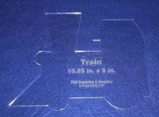 "Buy Train Engine"" -10.25"" x 8"" - 1/4"" Thick - Clear Acrylic - Long Arm or Hand Sew"