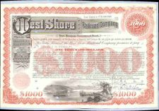 Buy New York New York City Stock Certificate Company: West Shore Railroad Comp~100