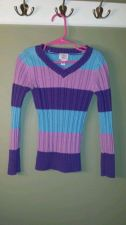 Buy Children's Place Girls Blue, Pink & Purple Striped V-neck Sweater Size S 5/6