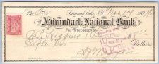 Buy New York Saranac Lake Cancelled Check Adirondack National Bank Check #572 ~5