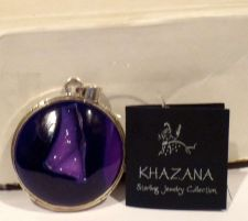 Buy Khazana Large Round Purple Druzy Pendant Sterling Silver New Tag One of a Kind