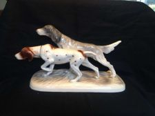 Buy Antique German Porcelain Pointer Hunting Dogs Figurine with rest of green mark