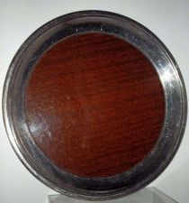 Buy Crescent Silverplate Wood Grain Formica Round Tray Mid Century-Vintage