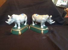 Buy antique porcelain. Stunning pair of rhinoceros - rhino's . Marked