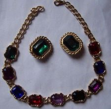 Buy vintage Elegance Statement Bezel Set Faceted Multi Color Cabochon Necklace Set
