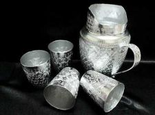 "Buy JUG & CUPS Traditional THAI LAO ""Handmade"" Premium Aluminum Drinkware Set Gift"