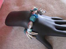 Buy Womens Blue, Green & Silver tone Bead & Charm Stretch Bracelet # 65