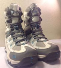 Buy Northface hiking boots, Women's size 7, grey, white & blue. NWT!!
