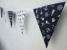 Buy Anchor Sailboat Navy Blue,Mini Fabric Bunting Double Sided Banner by Metre 1 m.