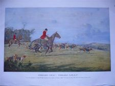 Buy Forrard Away Forrard A-W-A-Y colour fox hunting print by George Wright 1933
