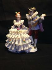 Buy antique German porcelain. Couple playing music. Marked GDR