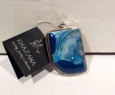 Buy Khazana Blue Shades Druzy Geode Pendant Sterling Silver New Tag One of a Kind
