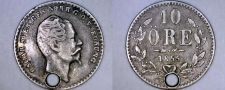 Buy 1855 Swedish 10 Ore World Silver Coin - Sweden - Holed