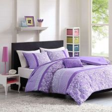 Buy QUEEN Girls Teen Bright Purple FLORAL Comforter Set White Modern Paisley Boho