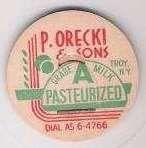 Buy New York Troy Milk Bottle Cap Name/Subject: P. Orecki & Sons~208