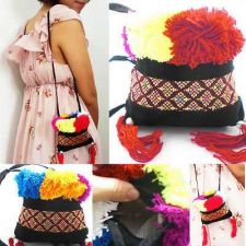 Buy HMONG HANDICRAFT ZIPPER WOVEN THAIFABRIC PURSE WALLET HANDBAG WITH POM POM CUTE
