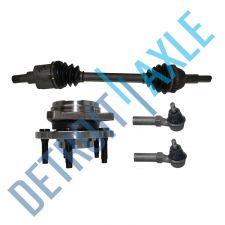 Buy Front Passenger CV Axle Shaft + 2 NEW Tie Rods + NEW Wheel Hub Bearing Assembly
