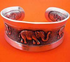 Buy BRACELET ELEPHANT STAINLES STEEL CUFF BANGLE WRIST WIDE THAI HAMMERED MAN WOMAN
