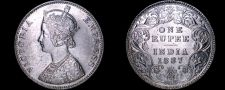 Buy 1887 Indian 1 Rupee World Silver Coin - British India