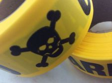 "Buy 4 pack - CAUTION-HAZARD-SKULL ""CrossBone"" FLAGGING Tape 1 3/16"" X 300 foot roll"