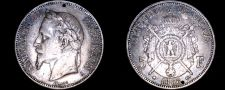 Buy 1868-A French 5 Franc World Silver Coin - Napoleon III - Holed