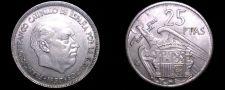Buy 1957 (67) Spanish 25 Peseta World Coin - Spain Caudillo