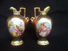 Buy Antique pair ROYAL VIENNA Dollhouse Miniature Porcelain Portrait Ewer Pitcher