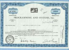 Buy New York na Stock Certificate Company: PSI Programming And Systems, Inc. ~62