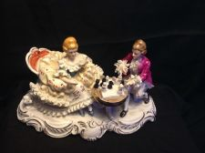 Buy antique porcelain group - figurine Couple playing chess. Marked TKN