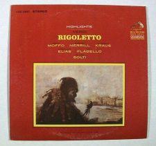 Buy VERDI : RIGOLETTO ~ Highlights Georg Solti, Conductor Classical LP