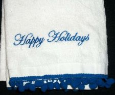 Buy Hand towels Bathroom White with Blue trim, Monogrammed