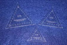 """Buy 3 Piece Quilt Equilateral Triangles 1/8"""" Acrylic 1"""",1 1/2"""",2"""" w/seam allowance & guid"""
