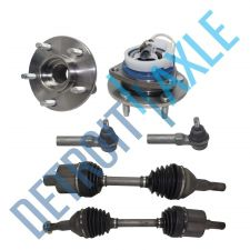 Buy 6 pc Set 2 Front CV Axle + 2 Outer Tie Rods + 2 Wheel Hub Bearing; FWD w/ ABS