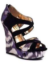 Buy NEW Bamboo High WEDGES Purple Animal Print, Criss-Cross Straps, Women Size 8 M