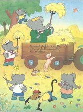 Buy Babar The Elephant Farm Tractor Trailer Hay Dog Kids Art 1993 French print