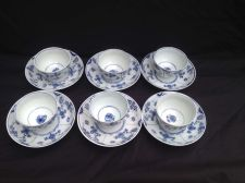 Buy meissen Marcolini 6 cups and saucers. Ribbed design. Marked Crossed Swords