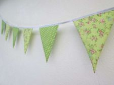 Buy Mini Floral & Green Polka Dot Spot Fabric Bunting Double Sided Banner by 100 cm.