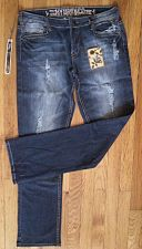 Buy NWT JEANS Boot Cut Mid-Rise Distressed Blue Stretch Denim HYBRID&CO Women 11/12