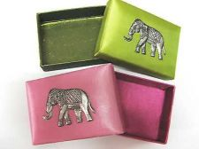 Buy 2 NEW GREEN & PINK THAI SILK WITH ELEPHANT SILVER COLOR NAMECARD BOXES