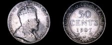 Buy 1907 Newfoundland 50 Cent World Silver Coin - Canada