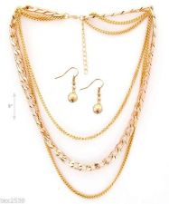 Buy LADIES New two NECKLACES & EARRING SET 1 GOLD & 1 SILVER COLOR MULTI CHAIN SET