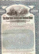 Buy New York New York City Stock Certificate Company: New York Central and Hud~115