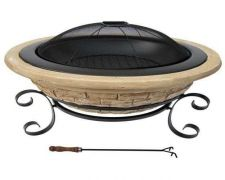 "Buy New Outdoor Fireplace Wmu Magnesia 30"" Fire Pit Metal Stand Spark Screen Patio"