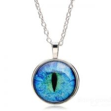 Buy Dragon Cat Eye Glass Cabochon Silver Plated Pendant Necklace - Blue USA Seller