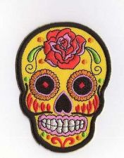 Buy YELLOW SUGAR SKULL TATTOO LOGO SIGN, APPLIQUE IRON ON PATCH EMBROIDERED BADGE
