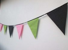 Buy Black Green Pink Spot Polka Dot Fabric Bunting Double Sided Banner 5 feet 150 cm