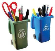 Buy Mini Storage Desktop Organizers Pen Pencil Fun Gag Gift Trash Recycle Can Set