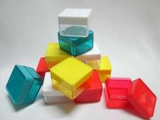 "Buy 144 Small Clear Square Plastic Boxes 1"" Lids Multi-Color For Small Items Jewelry"
